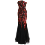Ariel Sarah Red & Black Sequin Fishtail Maxi Gown Dress - Fashion Genie Boutique