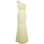 All Mine Yellow One Shoulder Slit Fishtail Maxi Gown Dress - Fashion Genie Boutique