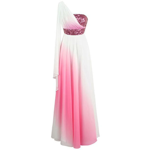 Love Potion Pink & White Contrast Chiffon Sequin Maxi Gown Dress - Fashion Genie Boutique