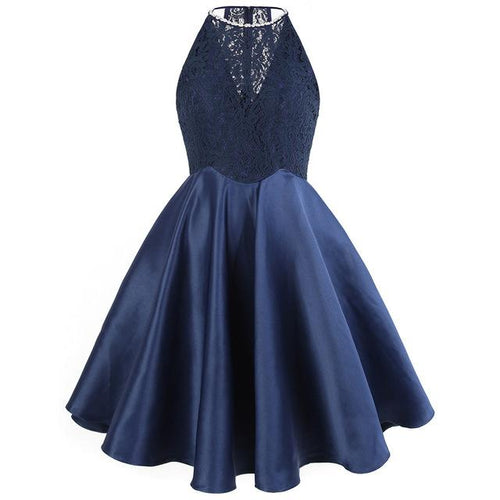 Go On Royal Blue Lace Satin Skater Prom Dress - Fashion Genie Boutique