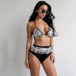 Love On Top Silver Sequin Bikini Swimsuit - Fashion Genie Boutique