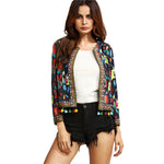 Folksy Multi Coloured Pom Pom Cropped Jacket - Fashion Genie Boutique USA Alt
