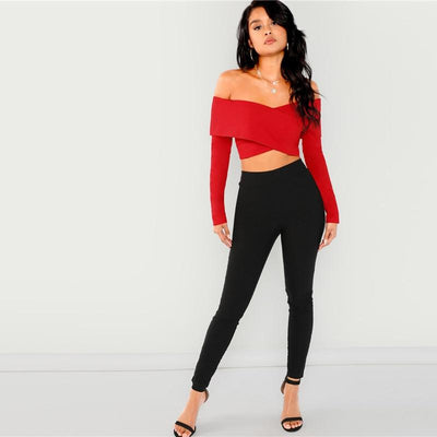 Sunny Sally Black Bardot Long Sleeve Crop Top - Fashion Genie Boutique
