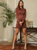 Glam Life Bronze Sequin Long Sleeve Mini Dress - Fashion Genie Boutique