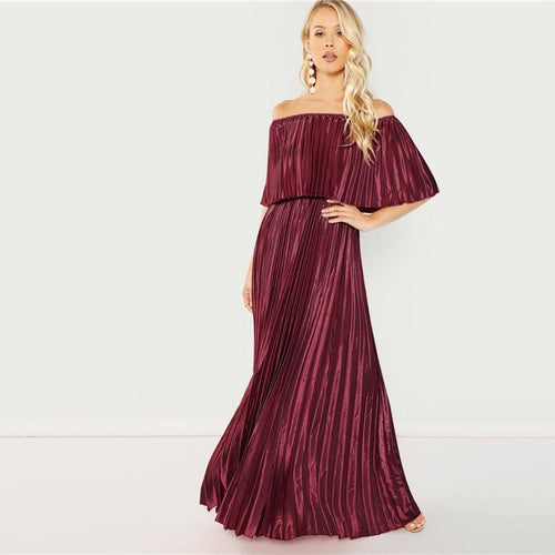 Dream Of You Burgundy Bardot Pleated Maxi Dress