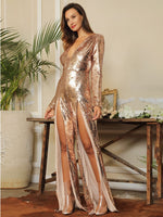 Not My Problem Gold Sequin Long Sleeve Double Split Jumpsuit - Fashion Genie Boutique