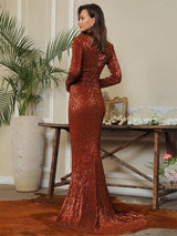Never Enough Brown Sequin Long Sleeve Sleeve Maxi Fishtail Dress - Fashion Genie Boutique