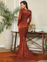 One True Love Brown Long Sleeve Sequin Maxi Gown Dress - Fashion Genie Boutique