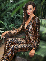 Say No More Brown Leopard Print Long Sleeve Jumpsuit - Fashion Genie Boutique