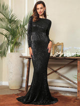 Never Enough Black Sequin Long Sleeve Sleeve Maxi Fishtail Dress - Fashion Genie Boutique
