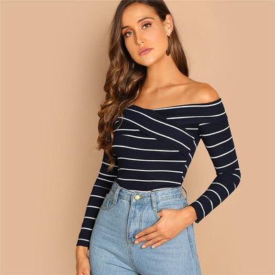 Hot Stuff Navy & White Bardot Long Sleeve Top - Fashion Genie Boutique