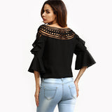 Right To Ruffle Black Frill Sleeve Top - Fashion Genie Boutique USA Alt