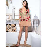 Say You Love Me Nude & Red Floral Long Sleeve Mini Dress - Fashion Genie Boutique