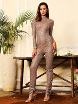 Get Flirty Multi Glitter Embellished Long Sleeve Skinny Jumpsuit - Fashion Genie Boutique