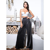 No Letting Go Black High Waist Shimmer Wide Leg Pants