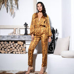 Miss Tease Yellow Snake Print Long Sleeve Jumpsuit