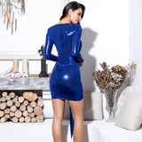 Under The Radar Blue Sheen Long Sleeve Ruffle Bow Mini Dress - Fashion Genie Boutique
