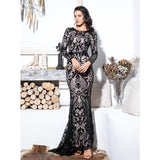 Forever Flawless Black Sequin Long Sleeve Maxi Fishtail Gown Dress - Fashion Genie Boutique