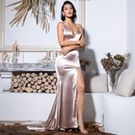 Sassy Lassie Nude Satin High Split Maxi Gown Dress - Fashion Genie Boutique