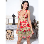 Out of Love Nude & Red Floral Ruffle Mini Dress - Fashion Genie Boutique