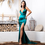 Sassy Lassie Green Satin High Split Maxi Gown Dress - Fashion Genie Boutique