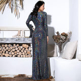 Earned It Silver Sequin Long Sleeve Maxi Gown Dress - Fashion Genie Boutique