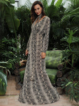 Made To Flaunt Snake Print Long Sleeve Maxi Dress