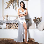 Sassy Lassie White Satin High Split Maxi Gown Dress - Fashion Genie Boutique