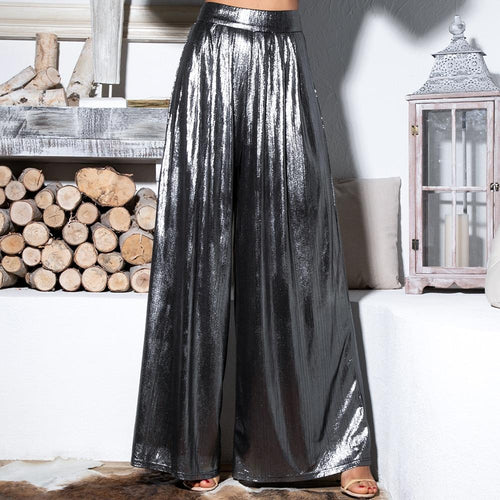 Luxe Party Silver Pleated High Waisted Wide Leg Trousers - Fashion Genie Boutique