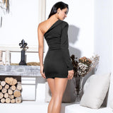 Oh So Clueless Black Irregular One Sleeve Mini Dress - Fashion Genie Boutique