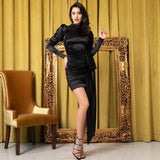 Boudoir Secrets Black Open Back Long Sleeve Mini Dress