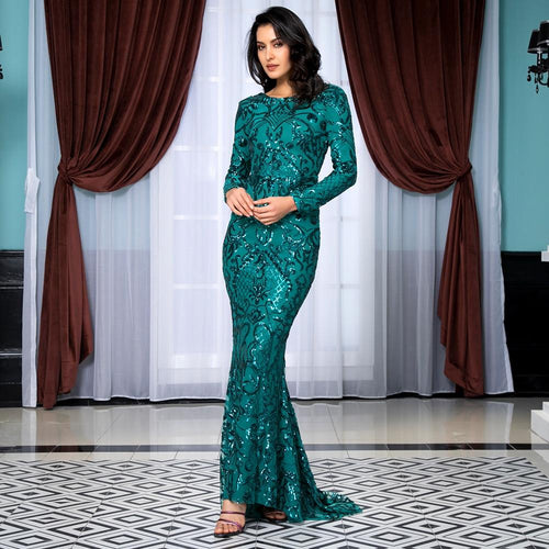 Forever Flawless Green Sequin Long Sleeve Maxi Fishtail Gown Dress - Fashion Genie Boutique