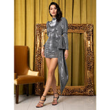 So Adorable Silver Long Sleeve Mini Dress - Fashion Genie Boutique