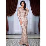 Forever Flawless Gold Sequin Long Sleeve Maxi Fishtail Gown Dress - Fashion Genie Boutique