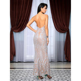 Pure Desire Silver Glitter Embellished Maxi Gown Dress - Fashion Genie Boutique