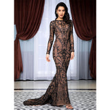 Prom N Poised Black Glitter Embellished Maxi Fishtail Gown Dress - Fashion Genie Boutique