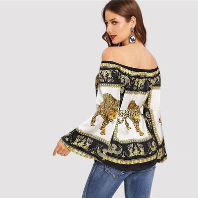 Sincerely Multi Bardot Scarf Print Long Sleeve Top - Fashion Genie Boutique