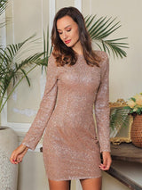Glam Squad Arrives Rose Gold Glitter Embellished Long Sleeve Mini Dress - Fashion Genie Boutique