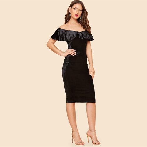 Filled With Surprises Black Bardot Velvet Midi Dress