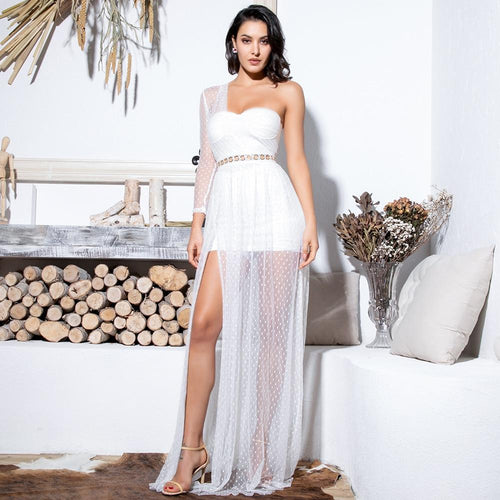 Kerry White One Shoulder Mesh Maxi Dress - Fashion Genie Boutique