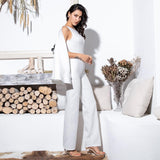 Gabrielle White Cape Sleeve Jumpsuit - Fashion Genie Boutique