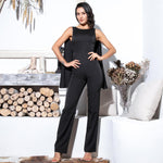 Gabrielle Black Cape Sleeve Jumpsuit - Fashion Genie Boutique