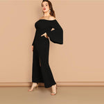 Shape Of Love Black Bardot Ling Sleeve Maxi Dress - Plus Size