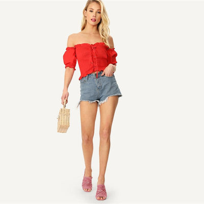 Honey Punch Red Bardot Gypsy Crop Top - Fashion Genie Boutique
