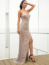 Glow On Fleek Silver Glitter High Split Maxi Gown Dress - Fashion Genie Boutique