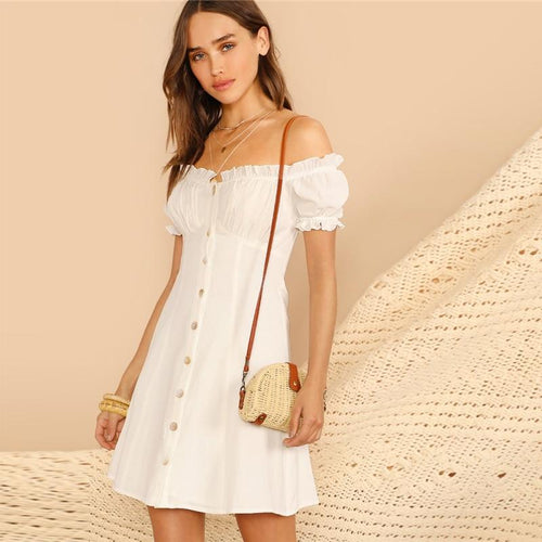 Got Me Moving White Bardot Button Up Mini Dress