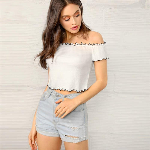 Clear Sailing White Bardot Crop Top