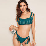 Call Me Maybe Green Tassel Bikini Swimsuit - Fashion Genie Boutique