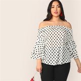 Attention To Detail White Polka Dot Long Sleeve Bardot Top - Plus Size