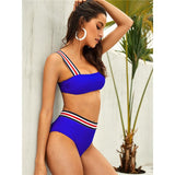 Spot Light Blue Stripe Bikini Swimsuit - Fashion Genie Boutique